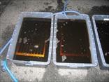 透明な液が、真っ黒になるほど汚れが溜まっています。